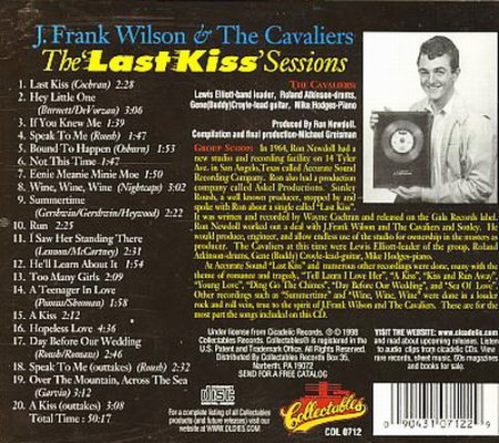 J. Frank Wilson & The Cavaliers - Back CD Cover.jpg