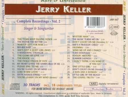 Jerry Keller - Vol. 2 - Rare & Unreleased - Back.jpg