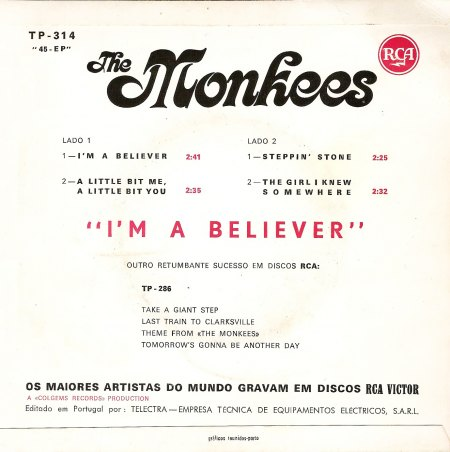 The Monkees - I'm a Believer (EP 1966) - BACK.jpg