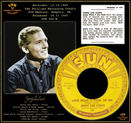JERRY LEE LEWIS - LOVE MADE A FOOL OF ME [EXTENDED MASTER]